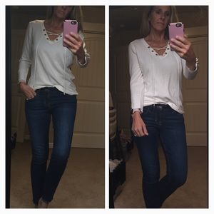 NEW White Calvin Klein V neck Lace up sweater